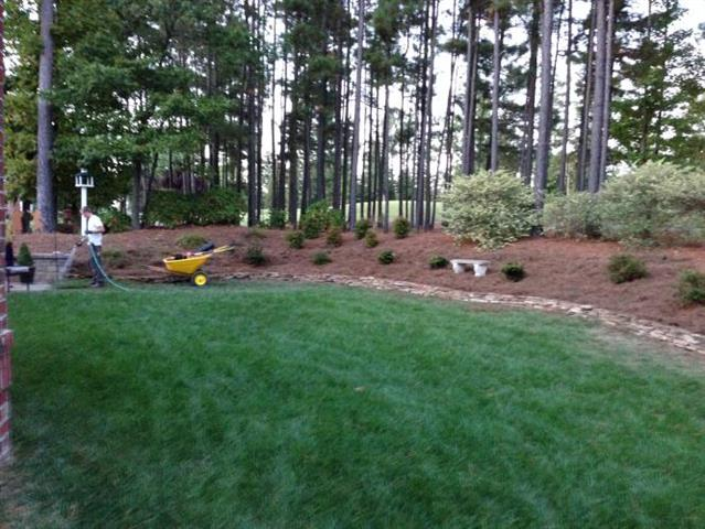 A FortSmith Landscaping employees watering plants after installing a large landscape bed with plants and pine straw beyond the grass in a backyard.