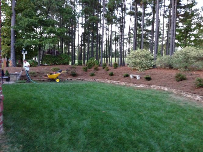 FortSmith Employees watering plants after installing a landscape in a client's back yard.